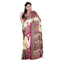Cream Crepe Printed Saree