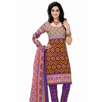 Bandhej Print Cotton Suit in Maroon and Purple