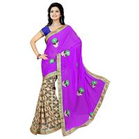 Purple Georgette Printed Saree