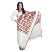 Brown and White Ikat Cotton Handloom Dupatta