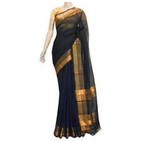 Black Silk-Cotton Saree with Gold Border