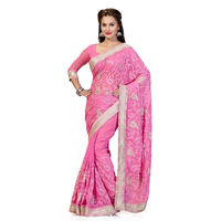 Lovely Baby Pink Chiffon Saree