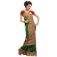 Green & Red Bhagalpuri Jacquard Saree