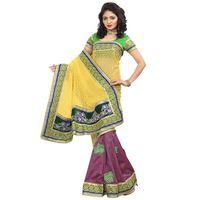 Yellow & Green Bhagalpuri Jacquard Saree