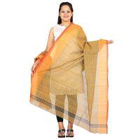 Yellow Venkatagiri Cotton Handloom Strips Dupatta