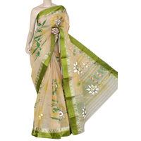 Beige Mehendi Green Bengali Tant Saree