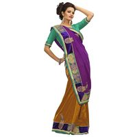 Light Yellow & Violet Bhagalpuri Saree
