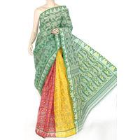 Red Yellow Green Bengali Tant Saree