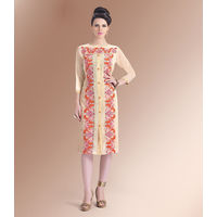 Red Embroidary Georgette Kurti