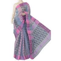 Grey Pink Bengali Tant Saree