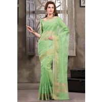 Green Weaved Cot Silk Saree