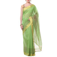 Light Green Lines With Border Tussar Silk Saree