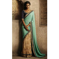 Half and Half Georgette Saree With Thread Work