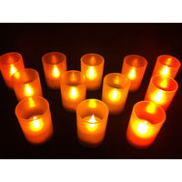 Yellow Tealight LED Candles in Frosted Cups - Set of 12