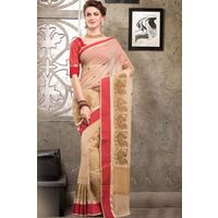 Beige Weaved Cot Silk Saree