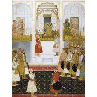 Painting Mughal Emperor Akbar Durbar