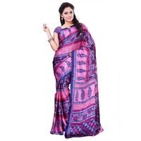 Pink & Blue Crepe Printed Saree