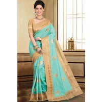 Tussar Saree With Gold Zari Border