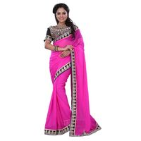Pink Chiffon Casual Wear Saree