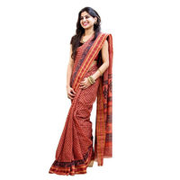 Boral Brick Block Printed Cotton Saree
