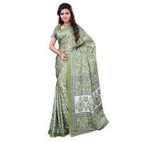 Green Crepe Printed Saree