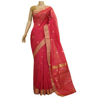 Dark Peach Chanderi Silk Saree