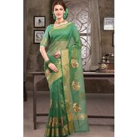 Bright Green Weaved Cot Silk Saree