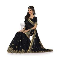 Black Chanderi Silk Embroidered Saree