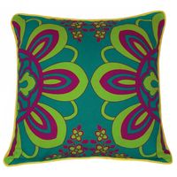 Enchanting Moon Green Violet Flower Cushion Cover
