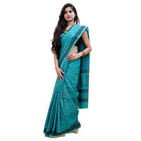 Blue Balcony Block Printed Cotton Saree