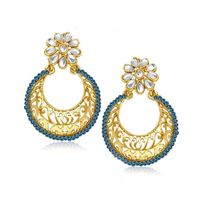 Kriaa Gold Plated Austrian Stone Kundan Chandbali Blue Earrings