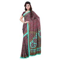 Red & Green Crepe Printed Saree