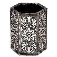 Jaipuri Designer Oxidized White Metal Pen Stand