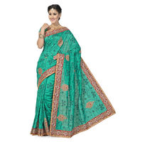 Outstanding Green and Red Bhagalpuri Silk Designer Saree