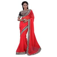 Red Chiffon Casual Wear Embroidered Saree