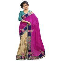Cream & Magenta Bhagalpuri Jacquard Saree