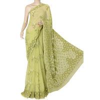 Mehendi Green Lucknowi Chikankari Saree