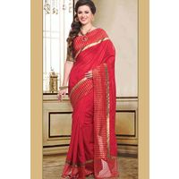 Tussar Saree With Red & Gold Border