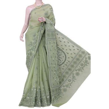 Kahi Green Lucknowi Chikankari Saree