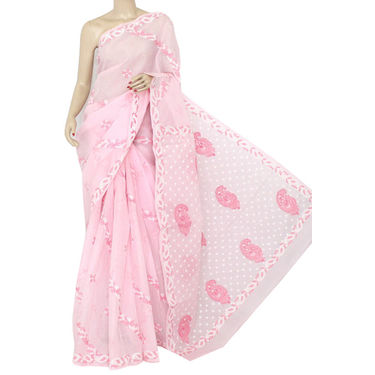 Light Pink Lucknowi Chikankari Saree