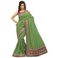 Green Bhagalpuri Silk Embroidery Saree
