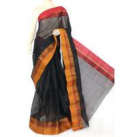 Black Bengali Tant Saree