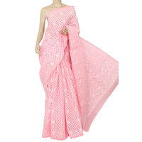Peach Lucknowi Chikankari Saree