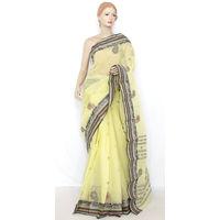 Lemon Yellow Bengali Tant Saree