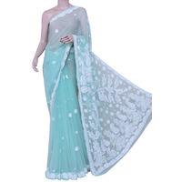 Sky Blue Lucknowi Chikankari Saree