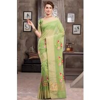 Light Green Weaved Cot Silk Saree