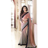 Pink Shaded Saree With Thread Work Blouse