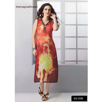 Orange Digital Printed Georgette Kurta