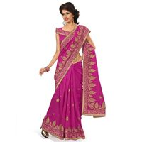 Pink Chanderi Silk Embroidered Saree
