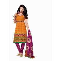 Bandhej Print Cotton Suit in Yellow and Pink